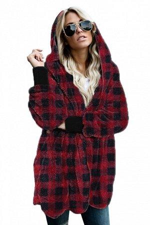 Карсно-черное клетчатое флисовое пальто с капюшоном и карманами
