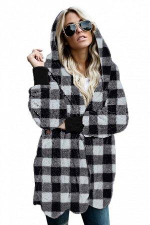 Черно-белое клетчатое флисовое пальто с капюшоном и карманами