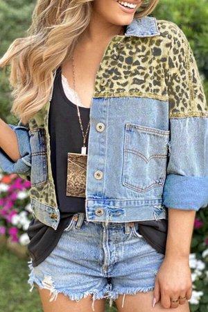 Голубая укороченная джинсовая куртка с леопардовым принтом и карманами
