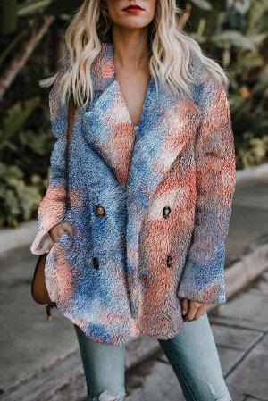 Разноцветное флисовое открытое пальто с красочным принтом и отложным воротником