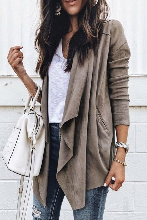 Серое замшевое вязаное пальто с драпировкой