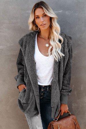 Темно-серое открытое пальто из мягкого флиса с капюшоном