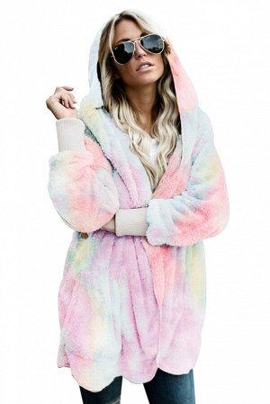 Розово-голубое открытое пальто из мягкого флиса с капюшоном