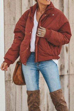 Бордовая укороченная куртка-пуховик