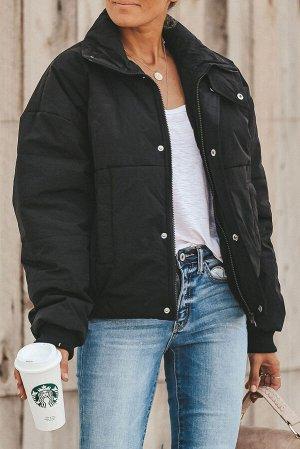 Черная укороченная куртка-пуховик