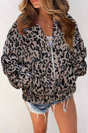 Бежевая куртка из шерпы с леопардовым принтом