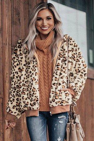 Бежевая плюшевая куртка с леопардовым принтом