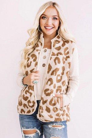 Розовый жилет шерпа с карманами и леопардовым принтом