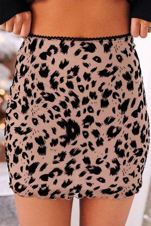 Бежевая облегающая мини-юбка с леопардовым принтом