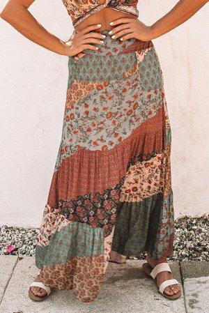 Кирпично-серая свободная макси юбка с сочетанием различных принтов и эффектом пэчворка