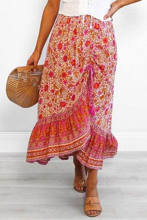 Красная макси юбка с узором из цветочных мотивов и асимметричной сборкой-разрезом