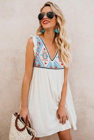 Летнее пляжное цветочное мини-платье без рукавов с V-образным вырезом