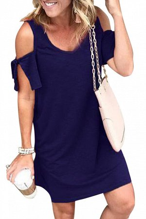 Синее платье с открытыми плечам