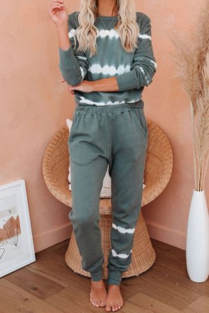 Темно-зеленый полосатый домашний комплект: пуловер + штаны