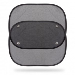 Шторки солнцезащитные на боковые стекла, сетчатый полиэстер, чёрные ,44 х 38 см, комплект из 2 шт, 1/100