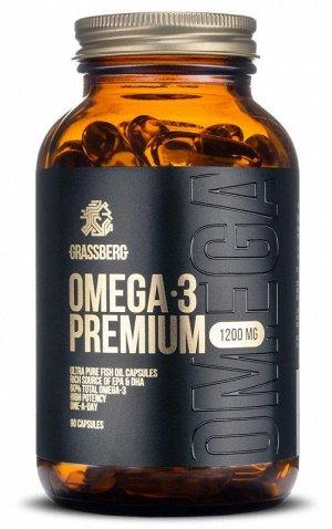 Омега 3 (Рыбий жир) GRASSBERG Omega Premium 1200мг (55%) - 90 капсул