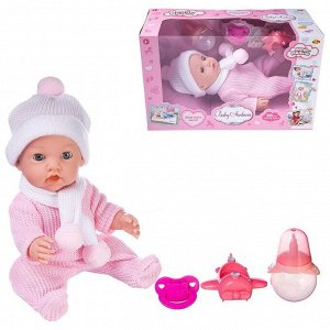 Пупс ABtoys Baby Ardana 30см, в розовом комбинезончике, шапочке и шарфике, с аксессуарами, в коробке194