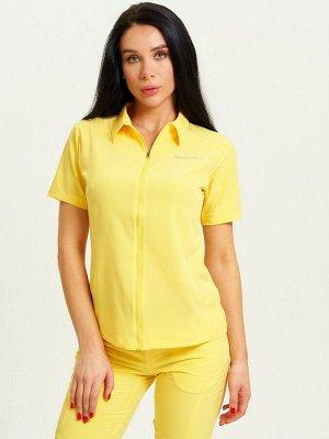 Спортивная футболка поло женская желтого цвета 33412J