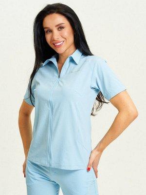 Спортивная футболка поло женская голубого цвета 33412Gl