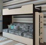 Кровать двухярусная с диваном (2уп), Венге/Белёный дуб