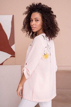 Блузка Рост: 164 см. Состав ткани: полиэстер - 58%, вискоза - 23%, лен - 19%. Блуза с вышивкой придаст вашему образу нежности и женственности.  Блуза женская прямого силуэта из блузочной ткани с худож