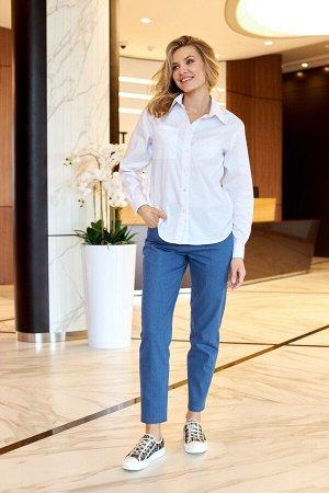 Блузка Рост: 164-170 см. Состав ткани: 100% хлопок Блузка свободного кроя. Рубашечный воротник, длинный рукав с манжетам, накладной карман, застежкой на пуговицы.   Длина изделия – 66 см  Длина рукава