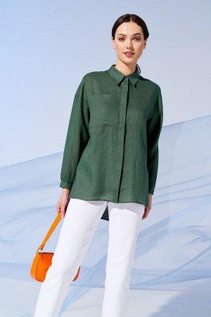 Блузка Рост: 170 см. Состав ткани: 100% лён Комфортная удлиненная блузка-рубашка прямого силуэта из льняной ткани .Необычность модели придают асимметричная линия низа и разрезы по бокам. Воротник стоя