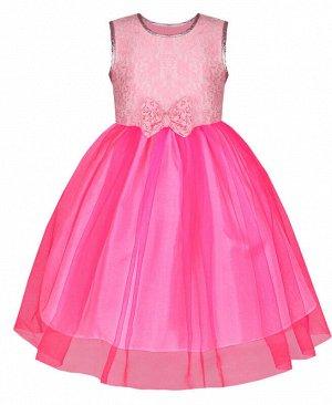 Розовое нарядное платье для девочки с гипюром и сеткой-вуалью Цвет: розовый