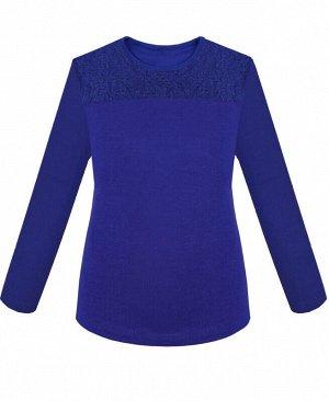 Синий джемпер(блузка) для девочки с кокеткой Цвет: синий