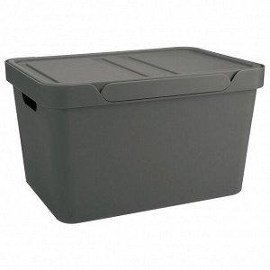 "Корзина для хранения с крышкой ""Luxe"" 27х19х12см, цв.серый 433205411"