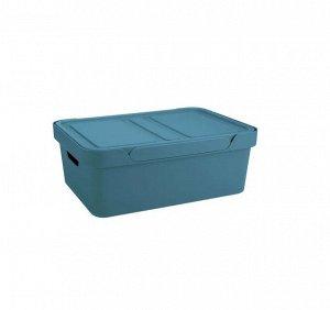 "Корзина для хранения с крышкой ""Luxe"" 38х27,6х14см, цв.голубой 433205602"