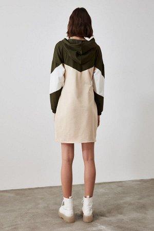 Платье Бежевое трикотажное платье-свитшот со шнуровкой %65 Pamuk %30 Polyester %5 Elastan