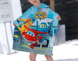 """Детское полотенце-накидка с капюшоном, принт """"самолеты"""", цвет голубой"""