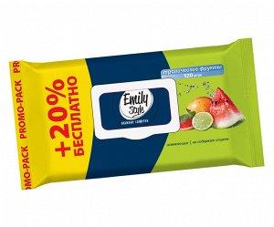 Эмили Стайл влаж салфетки Тропические фрукты 120шт. упаковка с крышкой (+20% БЕСПЛ)