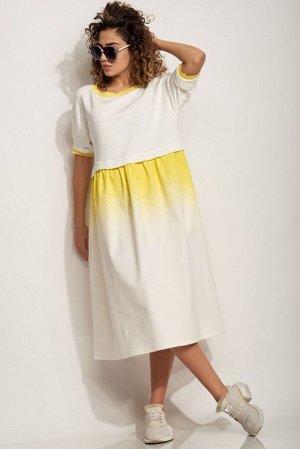 Платье Платье Сч@стье 7200  Состав: Хлопок-98%; Эластан-2%; Сезон: Весна-Лето Рост: 170  Платье женское из двух видов ткани: верх трикотажное полотно, низ - мягкий джинс с нанесенем печати в итальянс