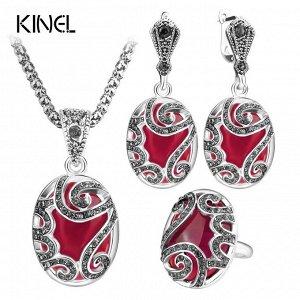 Винтажные Ювелирные наборы из 3 предметов, модные красные женские серьги и ожерелье с кулоном,