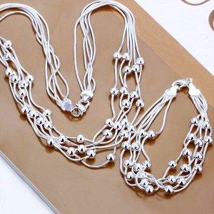 Женское ожерелье и браслет QiLeSen925, ювелирное изделие из 100% стерлингового серебра