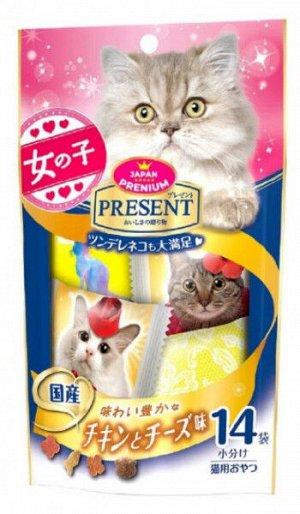 Хрустящее лакомство PRESENT для избалованных котов на основе японского цыплёнка в сырном соусе 42гр