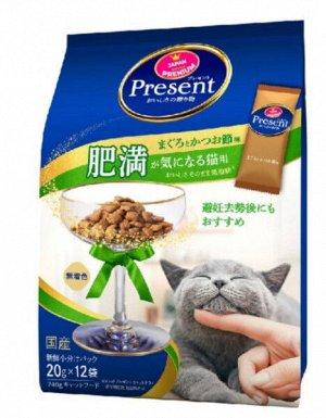 Лакомство PRESENT для кошек с низким содержанием жира для контроля веса на основе японского тунца бонито 240гр