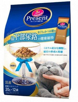 Лакомство PRESENT для кошек с низким содержанием магния для профилактики мочекаменных заболеваний и цистита на основе японского тунца бонито 240гр