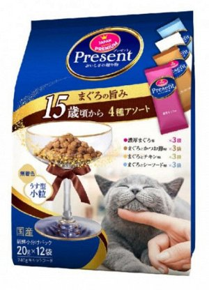 Лакомство PRESENT для пожилых кошек (15+) ассорти 4 вкусов тунца с содержанием олигосахарихов для поддержания здорового пищеварения 240гр