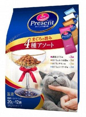 Лакомство PRESENT для взрослых кошек ассорти 4 вкусов тунца с содержанием олигосахарихов для поддержания здорового пищеварения 240гр
