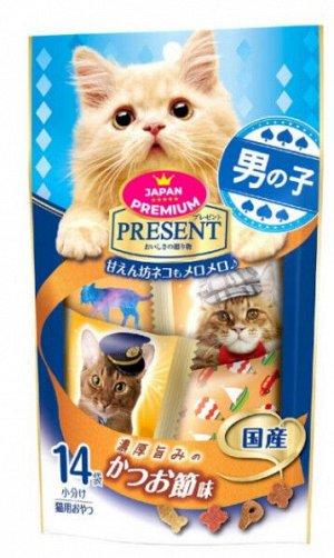 Хрустящее лакомство PRESENT для избалованных котов на основе сушенрго тунца бонито 42гр