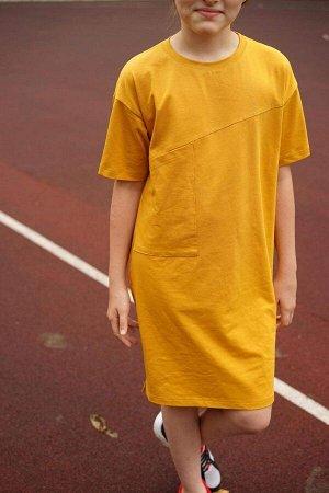 Платье Free с карманом Горчица