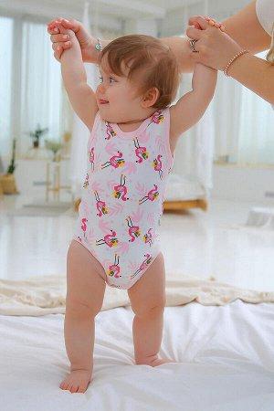 Боди Малыш фламинго цвет Разноцветный