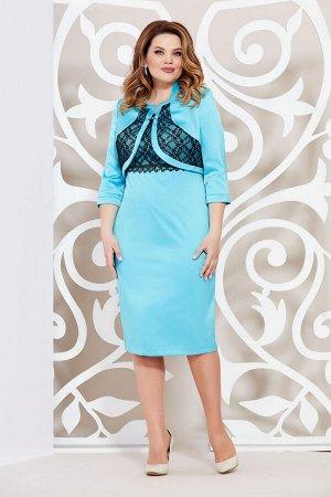 Платье Платье Mira Fashion 3133-3  Состав: ПЭ-95%; Спандекс-5%; Сезон: Весна Рост: 164  Комплект в классическом стиле состоящий из платья и укороченного жакета выполнен из костюмно-плательной ткани с