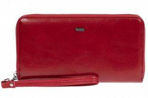 Прямоугольное портмоне-клатч из кожи, цвет красный