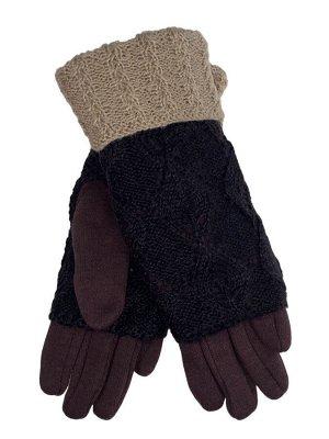 Текстильные перчатки с шерстяными митенками, цвет шоколад