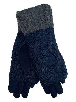 Текстильные перчатки с шерстяными митенками, цвет тёмно-синий