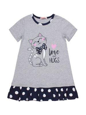 Платье для девочки BK1476P серый меланж